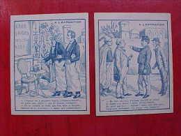 Lot De 2 , ANCIENNE IMAGE à Retourner, DESSIN CACHE , Old PICTURES Hidden Drawing, Riddle Recto Verso Prix Fixe - Chromos