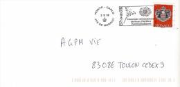MONACO: Timbre Autocollant De Carnet Seul Sur Lettre. Obli Feux D'artifice - Marcophilie