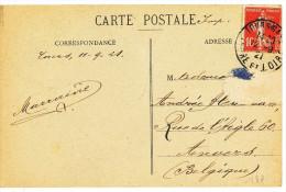 """1921 CARTE DE VUE """"TOURS I-ET L. -LA CATHEDRALE """" Y&T 138 De TOURSGARE INDRE ET LOIRE à ANVERS VOIR SCANS - Covers & Documents"""