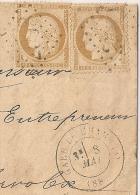 Deux 10c SIEGE De PARIS Luxes GC 2558 La Motte Servolex Savoie + GARE DE CHAMBERY Sur Lettre Bureau De Gare. - Marcophilie (Lettres)