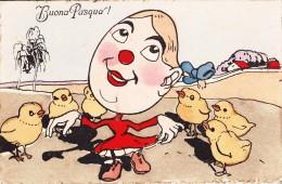 SERIE DI 4 CARTOLINE DEL 1913 CARICATURA-HUMOR-BUONA PASQUA-ACQUARELLATA-2 SCAN-VEDI - Humor