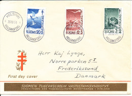 Finland FDC 26-10-1951 Complete Set Of 3 Tuberculose Stamps With Cachet Sent To Denmark - FDC