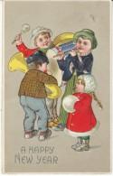 Happy New Year, Children Play Music Instruments Horn Drum C1910s Vintage Embossed Postcard - Año Nuevo