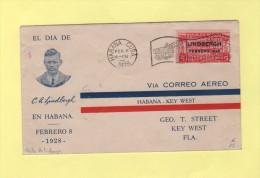 Visite De Lindbergh - 8 Fevrier 1928 - Cuba - Poste Aérienne