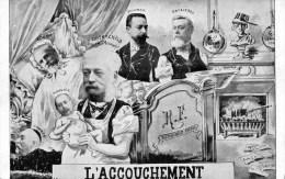 55Ptu  Cpa Satirique Politique L'accouchement Rothschild Rouvier Doumen Loubet Fallieres Combes DND - Satirical