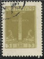 FIUME 1923 SAN VITO E SOGGETTI VARI LIRE 3 USED - 8. Occupazione 1a Guerra