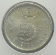 SRI LANKA 5 RUPEES 2002 PICK KM 148.2 UNC - Sri Lanka