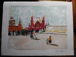 Yves Brayer - Lithographie Originale Numérotée Et Signée - Lumière De Moscou - Moscou: La Place Rouge - 1976 - Lithographies
