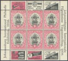 SOUTH AFRICA 1936 JIPEX EXPO SHEET OF 6** (MNH) - Zuid-Afrika (...-1961)