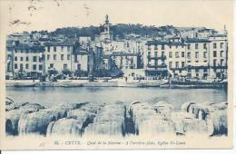 32 - CETTE - QUAI DE LA MARINE - A L'ARRIERE-PLAN, EGLISE St-LOUIS  ( Animées  ) SETE - Sete (Cette)