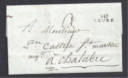Haute Garonne - Cachet  30 / REVEL  Sur Lettre De 1814 - Marcophilie (Lettres)