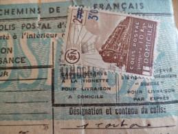 France Marcophilie 3 TP Colis Postal Surbulletin D'expédition  SNCF 1943 Limoges à Paris - Colis Postaux