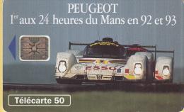 Telefoonkaart - Frankrijk - France Telecom – Télecarte 50 - Peugeot – 1e Tijdens 24 Uur Van Le Mans In 92 En - Auto's