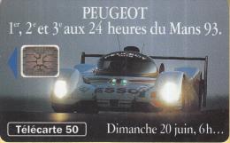 Telefoonkaart - Frankrijk - France Telecom – Télecarte 50 - Peugeot – 1e,2e En 3e Tijdens 24 Uur Van Le Mans - Auto's