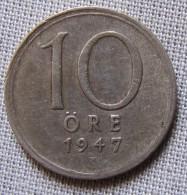 SWEDEN 1947TS - 10 ORE - SILVER - Sweden