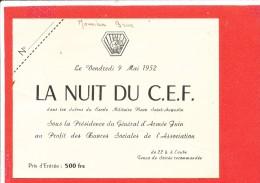 Invitation La Nuit Du CEF 9 Mai 1952 - Vieux Papiers
