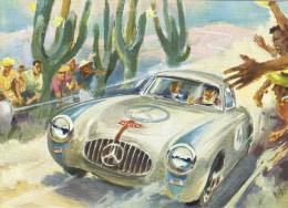 Mercedes Art Advertising Postcard  -  ´Typ 300SL Siegerwagen Der III. Carrera Panamericana Mexiko´  -  CPM - Voitures De Tourisme