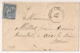 Convoyeur MODANE A CHAMBERY Savoie Sur Enveloppe SAGE, Bloc Dateur Romain. - Marcophilie (Lettres)