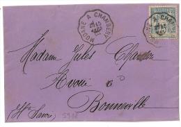 Convoyeur MODANE A CHAMBERY Savoie Sur Devant Violet SAGE, Bloc Dateur Mixte. - 1877-1920: Période Semi Moderne