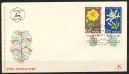 Israel  - FDC     - Mi.Nr.    214 - 215    -  12 Jahre Unabhängigkeit: Blumen - FDC