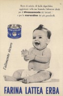 # FARINA LATTEA ERBA  BABY FOOD 1950s Advert Pubblicità Publicitè Reklame Milk Meal Farine Lait - Manifesti