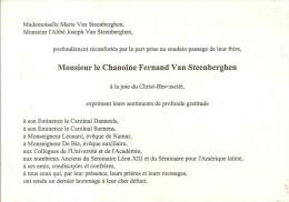 CHANOINE FERNAND VAN STEENBERGHEN - Décès