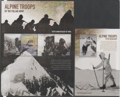LIBERIA, 2015 , MNH,WWI, ALPINE TROOPS OF THE ITALIAN ARMY, MOUNTAINS, BICYCLES, SHEETLET +S/SHEET, - WO1