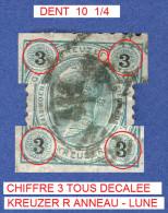 1890 - 96  N° 48  CHIFFRES NOIRS DENTELÉ 10  1/4  DOS CHARNIÈRE  OBLITÉRÉ - Abarten & Kuriositäten