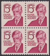 !a! USA Sc# 1288B MNH BLOCK (left & Right Sides Cut) - Oliver Wendell Holmes - 1845-47 Emissions Provisionnelles