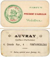 Carte Parfumée : Parfum Présent D'Amour, Delettrez - Auvray, Coiffeur-parfumeur Fontainebleau - Anciennes (jusque 1960)
