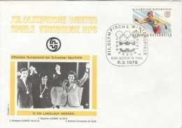 AUSTRIA Cover With Picture Of The Winners Of 15 Km. Crosscountry With Olympic Stamp And Special Cancel - Winter 1976: Innsbruck