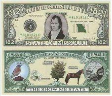 Billet de collection USA NM-124 Missouri State Million Dollars Paper Money Collector unc