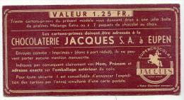 Carton Prime Chocolaterie JACQUES à EUPEN - Chocolat