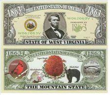 Billet de collection USA NM-130 West Virginia State Million Dollars Paper Money Collector unc