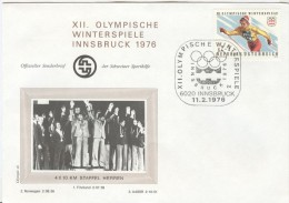 AUSTRIA Cover With Picture Of The Winners Of The 4x10km. Reley Men With Olympic Stamp And Special Cancel - Winter 1976: Innsbruck