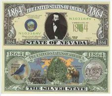 Billet de collection USA NM-135 Nevada State Million Dollars Paper Money Collector unc