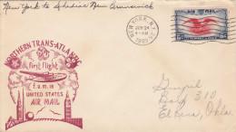 NORTHERN TRANS-ATLATIC FIRST FLIGHT LETTER 1939 - Mit 6 C Sondermarke V. N.Y. Nach Canada - Luftpost