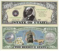 Billet de collection USA NM-144 Utah State Million Dollars Paper Money Collector unc