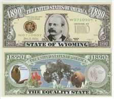Billet de collection USA NM-143 Wyoming State Million Dollars Paper Money Collector unc