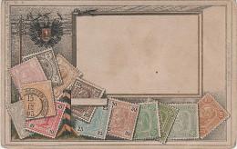 Litho AK Österreich Kaiserliche Post Briefmarke Stamp Wappen Briefmarkenkarte Philatelie Ansichtskarte Austria Autriche - Briefmarken (Abbildungen)