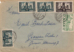 SAARLAND 1954 - 5 Sondermarken Frankierung Auf Brief Von Der Glück-Auf-Drogerie In Heiligenwald Gel.nach Giessen - Storia Postale