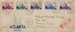 BELGIEN 1938 - 5 Fach Luftpost-Frankierung Auf LP-R-Brief Gel.v.Brüssel Nach USA, Großbrief Gefaltet,Marken Unbeschädigt - Belgien