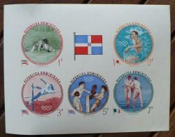DOMINICANA - DOMINICAINE. JEUX OLYMPIQUES 1956, Lutte, Escrime, Boxe, Saut. Feuillet Des N° Yvert 542/46  Non Dentelé * - Estate 1956: Melbourne