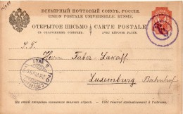 RUSSIE ENTIER POSTAL POUR LE LUXEMBOURG 1899+ - 1857-1916 Empire