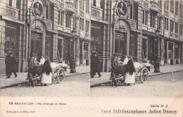 Vues Stéréoscopiques Julien Damoy - BRUXELLES - Un Attelage  De Chien - Stereoscopische Kaarten