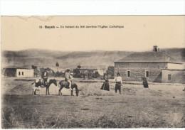 Riyak Riyaq Lebanon French Colonial Era, Wheat Harvest, Catholic Church, c1900s/10s Vintage Postcard