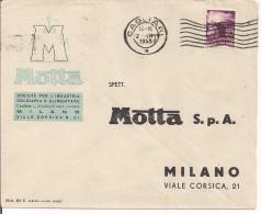 MOTTA , MILANO, BUSTA COMMERCIALE VIAGGIATA 1949, TIMBRO POSTE CAGLIARI, - Documenti Storici