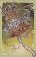 Très Jolie Cpa Gaufrée - Joyeuses Pâques - Grosse Cloche - Pâques