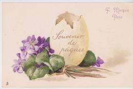 2 Cpa Précurseur - Très Jolie Cpa  F. Marquis - Souvenir De Pâques - Oeuf Et Violettes - Pâques