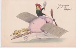 Belle  Cpa   - Joyeuses  Pâques - Thème Aviation Avion A Hélice Oeuf Poussins Et Coq - Pâques